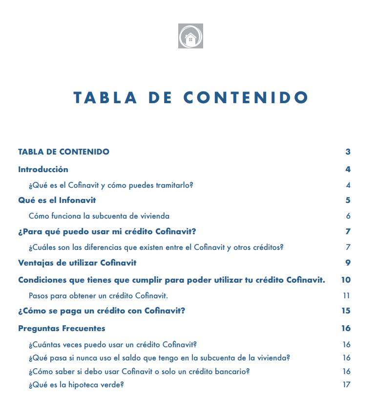 Índice ebook Cofinavit